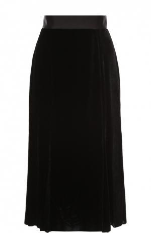 Бархатная юбка-миди с широким поясом Dolce & Gabbana. Цвет: черный