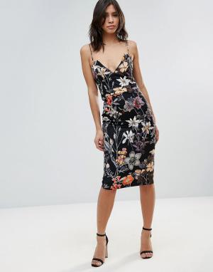 Talulah Коктейльное платье миди с цветочным принтом. Цвет: черный