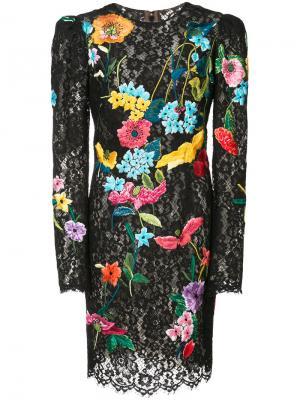 Кружевно платье с цветочным принтом Monique Lhuillier. Цвет: чёрный