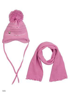 Шапка и шарф Agbo. Цвет: сиреневый
