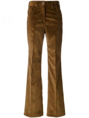 Расклешенные вельветовые брюки Prada. Цвет: коричневый