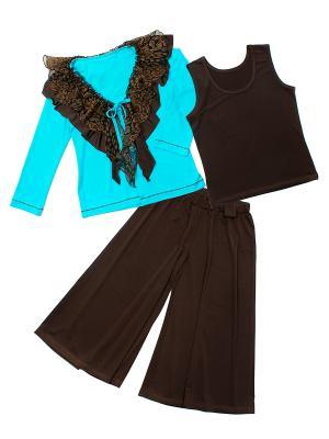 Комплект одежды для девочки Апрель. Цвет: бирюзовый, коричневый
