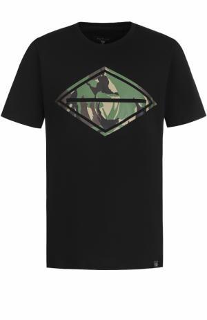 Хлопковая футболка с принтом Rag&Bone. Цвет: черный