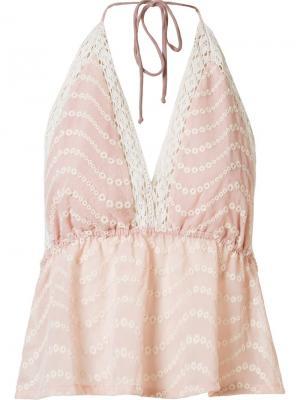 Блузка с кружевными вставками Skinbiquini. Цвет: розовый и фиолетовый