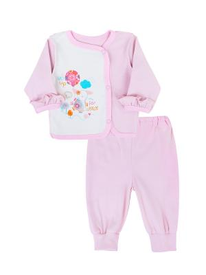 Комплект одежды: кофточка, штанишки Коллекция Розовые слоники КОТМАРКОТ. Цвет: молочный, розовый