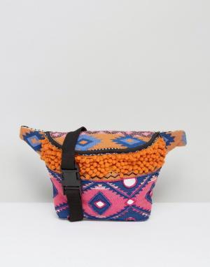 Park Lane Фестивальная сумка-кошелек на пояс с вышивкой и помпонами. Цвет: мульти