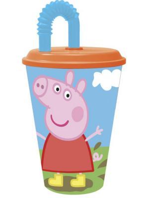 Стакан пластиковый с соломинкой и крышкой (спортивный, 430 мл). Свинка Пеппа Stor. Цвет: зеленый, красный, синий