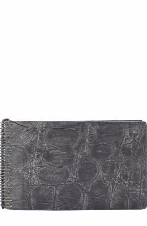 Портмоне из кожи аллигатора с отделениями для кредитных карт и монет Isaac Sellam. Цвет: темно-серый