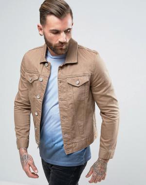 River Island Светло-коричневая джинсовая куртка. Цвет: коричневый