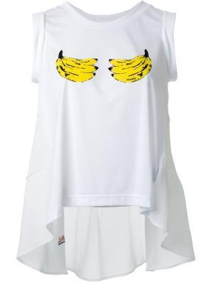 Топ с принтом бананов Muveil. Цвет: белый