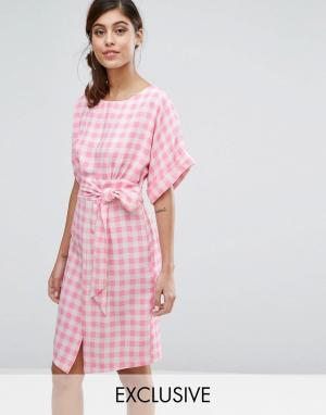 Closet London Платье с рукавами‑кимоно и поясом. Цвет: мульти