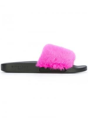 Шлепанцы с лисьим мехом Givenchy. Цвет: розовый и фиолетовый