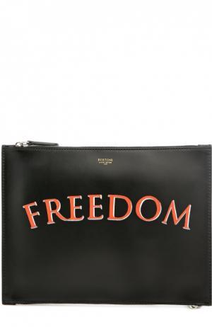 Кожаный футляр для документов с надписью Freedom Bertoni. Цвет: черный