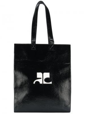 Сумка-тоут с принтом логотипа Courrèges. Цвет: чёрный