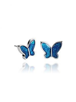 Гвоздики Королевские бабочки в серебре Dragon Porter. Цвет: синий