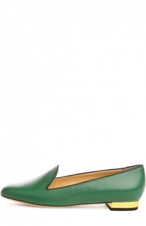 Кожаные лоферы ABC с аксессуаром Charlotte Olympia. Цвет: зеленый