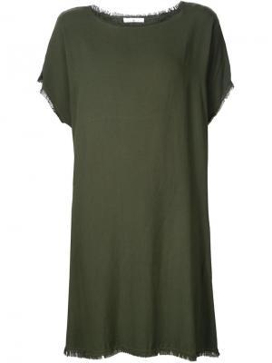 Платье шифт с необработанными краями 321. Цвет: зелёный