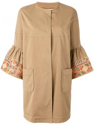 Пальто с укороченными рукавами Bazar Deluxe. Цвет: коричневый