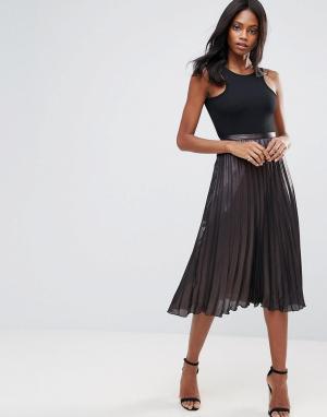 Liquorish Плиссированная юбка миди. Цвет: черный