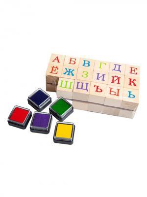 Печать алфавит с цветными штампами Винтик и Шпунтик. Цвет: светло-бежевый