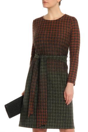 Деловое платье с поясом ODEKS-STYLE. Цвет: коричнево-зеленый