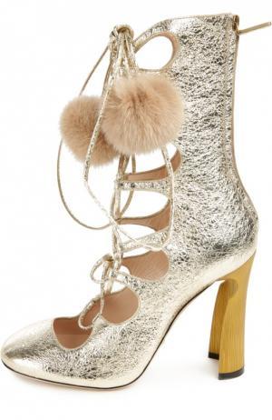 Полусапоги Heloise на шнуровке Gucci. Цвет: золотой