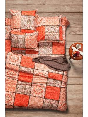 Постельное белье 1,5 сп.,поплин Sova and Javoronok. Цвет: бежевый, оранжевый, светло-оранжевый