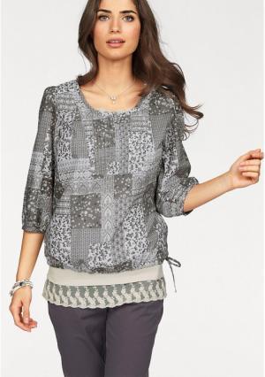 Блузка BOYSENS BOYSEN'S. Цвет: серый/белый