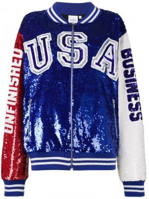Университетская куртка с пайетками Ashish. Цвет: синий