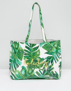Skinnydip Сумка-тоут с пальмовым принтом и вышивкой Holiday. Цвет: зеленый