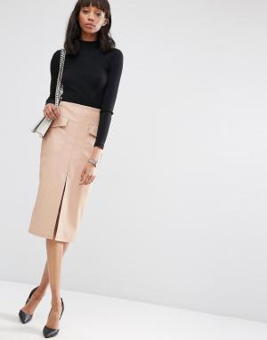 ASOS Полиуретановая юбка-карандаш с карманами и разрезом спереди 4857974