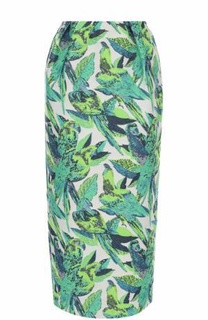 Хлопковая юбка-карандаш с принтом Vika Gazinskaya. Цвет: зеленый