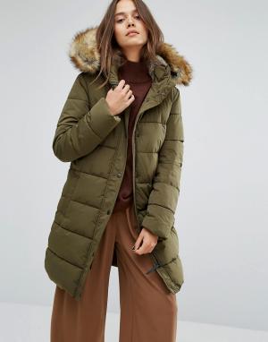 Parka London Длинная дутая куртка с искусственной меховой подкладкой на капюшоне Pa. Цвет: зеленый