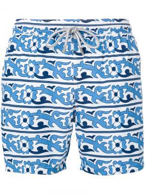 Пляжные шорты с цветочным принтом Capricode. Цвет: синий