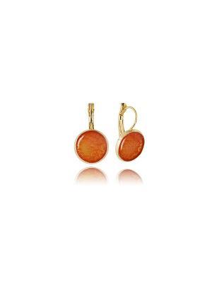 Серьги  Любовь к мандаринам в золоте, Dragon Porter. Цвет: оранжевый