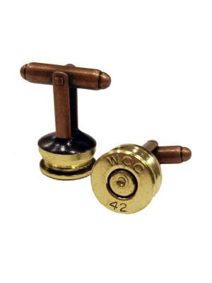 Запонки пуля гильза под золото Churchill accessories. Цвет: бронзовый