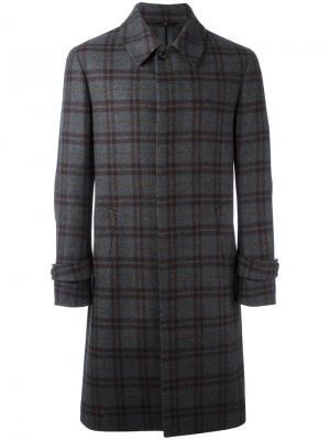 Клетчатое пальто Hevo. Цвет: серый