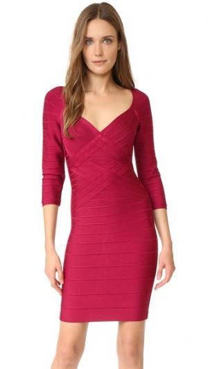 Платье Alicia с рукавами три четверти Herve Leger. Цвет: темно-бордовый