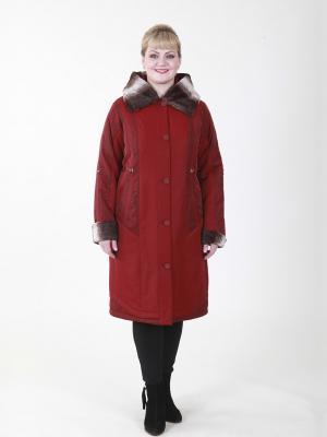 Пальто Ума VIKO. Цвет: темно-красный