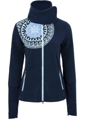 Флисовая куртка с принтом (темно-синий рисунком) bonprix. Цвет: темно-синий с рисунком
