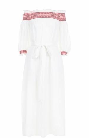 Льняное платье с открытыми плечами Lisa Marie Fernandez. Цвет: белый