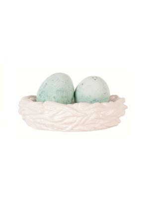 Соль и перец гнездо Вечерний сад Elff Ceramics. Цвет: белый, зеленый, голубой