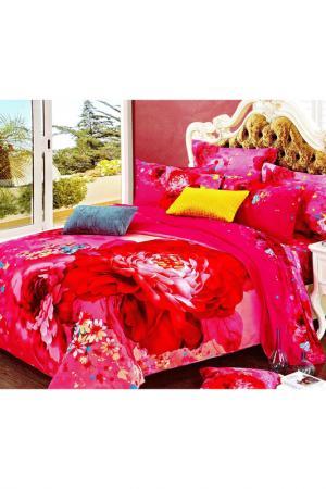 Постельное белье Евро - 4 нав. ТекСтильный Каприз. Цвет: красный, розовый
