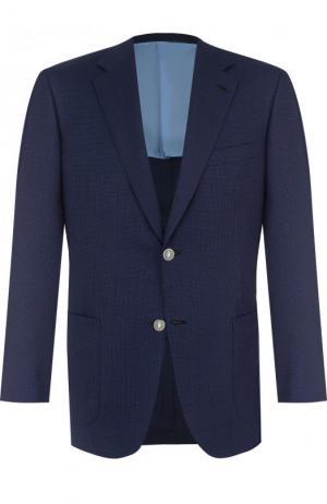 Однобортный шерстяной пиджак Brioni. Цвет: темно-синий