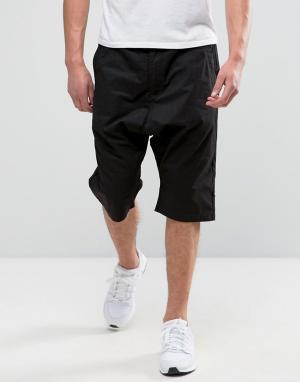 Maharishi Черные шорты с заниженным шаговым швом. Цвет: черный