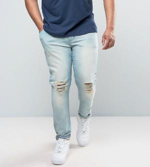 ASOS Голубые выбеленные джинсы суперскинни с рваными коленями PLUS. Цвет: синий