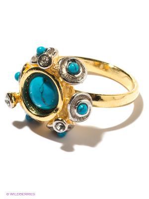 Кольцо Jenavi. Цвет: золотистый, голубой