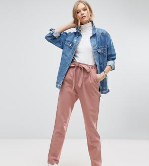 ASOS Tall Льняные брюки галифе с поясом. Цвет: розовый
