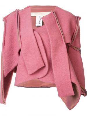 Пиджак с асимметричными панелями Eckhaus Latta. Цвет: розовый и фиолетовый