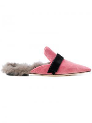Слиперы с отделкой из овчины Gianna Meliani. Цвет: розовый и фиолетовый